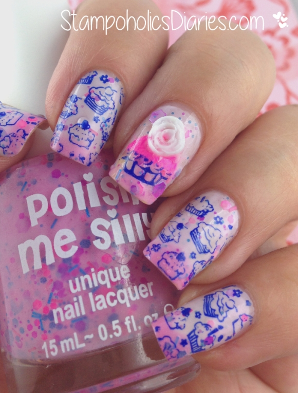 Stampoholics Diaries Polish Me Silly Dreaming in pink and Cupcake Design