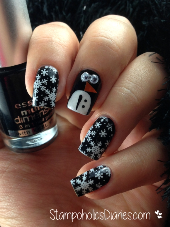 Born Pretty Googly eyes Essence Fatal - Penguin nail design