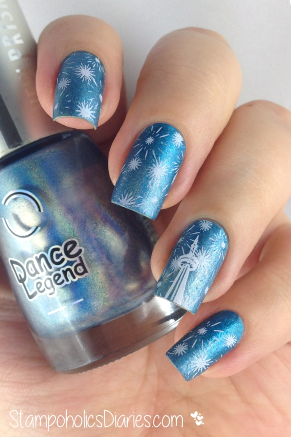 New Years Eve Nails with Dance Legend High Voltage, Bundle Monster BM-H14 and BM -015 StampoholicsDiaries.com