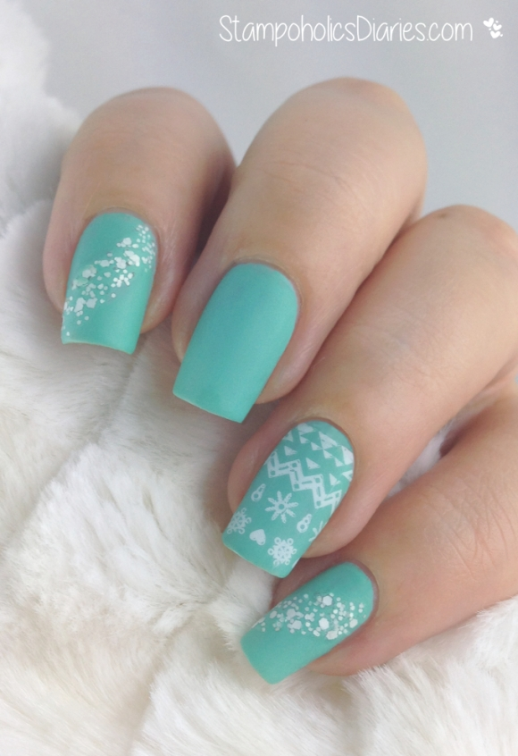StampoholicsDiaries.com Essence Mint & Cream matte & Stamping with  Konad Square Image Plate 10