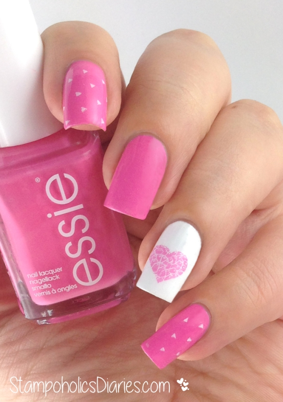 Valentine's Day nails Essie lovie dovie Bundle Monster BM-411, BM-606