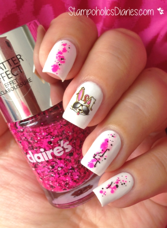 Bunny Nails with Jolifin, Claire's Sequins and Essence Snow alert StampoholicsDiaries.com