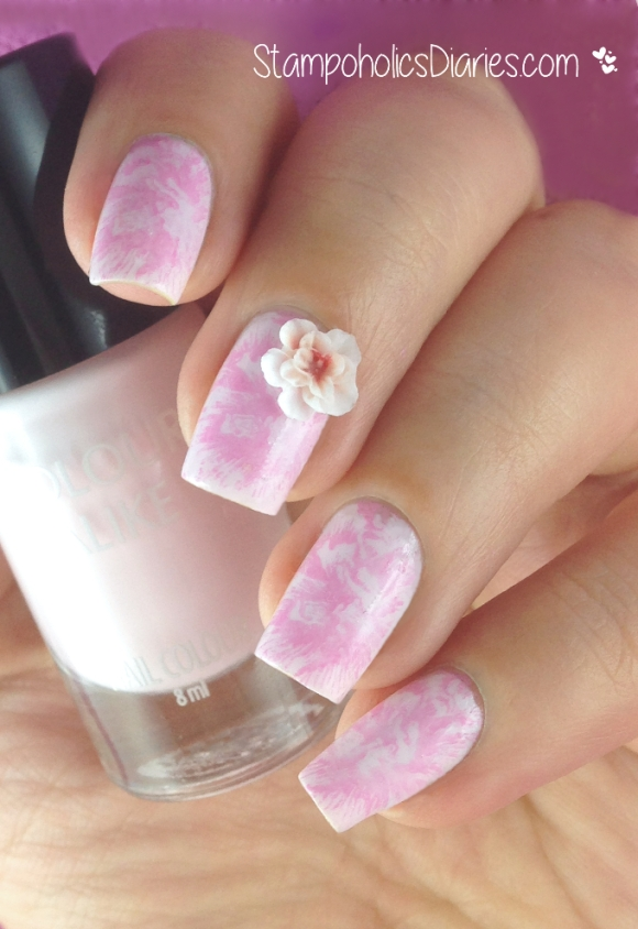 Flower Nails with Colour Alike 521, Konad Pastel Pink, Essence & MJ XI StampoholicsDiaries.com