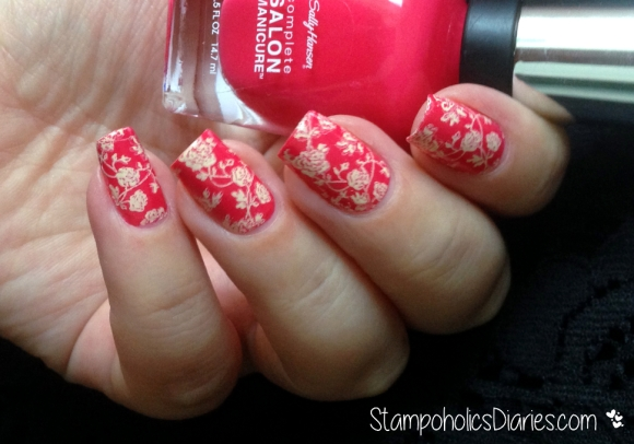 Rose Nails with Sally Hansen 540 Frutti Petutie StampoholicsDiaries.com