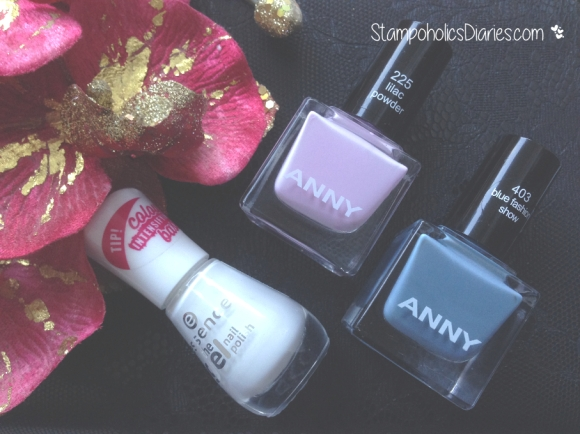 Anny 403 blue fashion show, 225 lilac powder, Essence 33 wild white ways