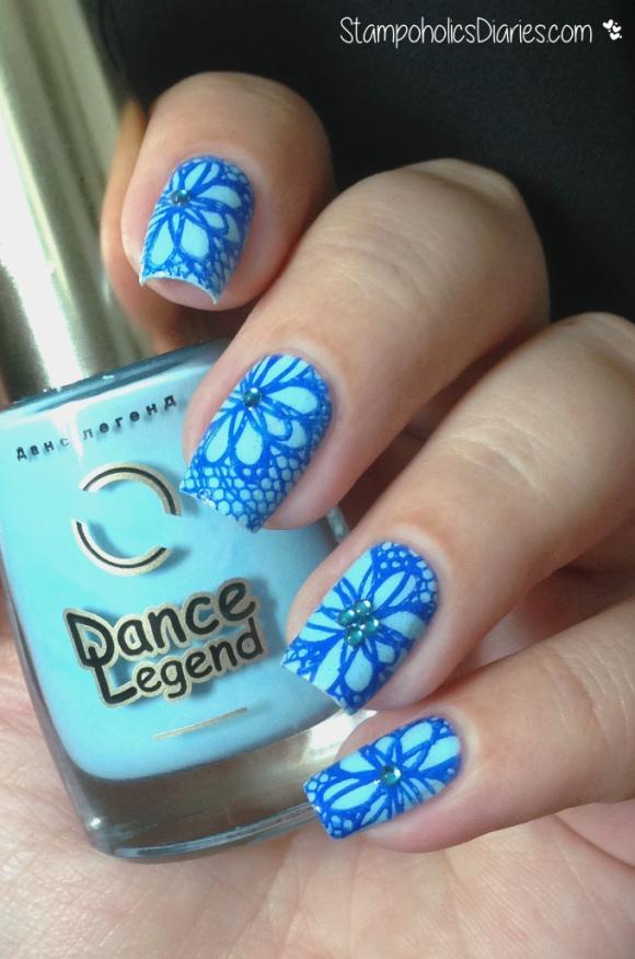 blue lace flowers with Dance Legend 342, Mundo de Unas 54 Iris, Born Pretty Y001 StampoholicsDiaries.com