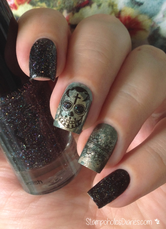 Skull nails with P2 Final Countdown, Essie Good as Gold, Bundle Monster BM-323, BM-413 Stampoholicsdiaries.com