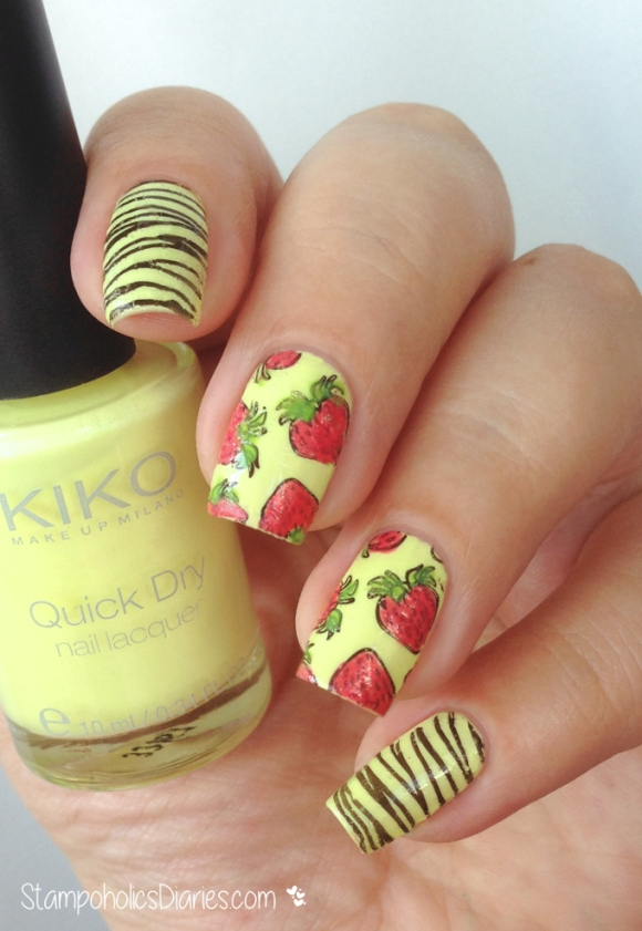 strawberry nails Kiko 488, 297, 853 and Bornpretty Y004, BP-67 stampoholicsdiaries.com