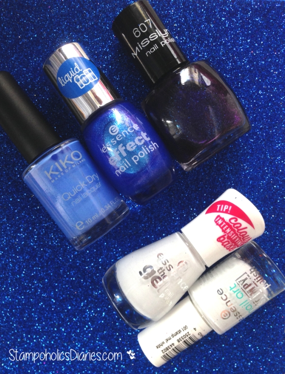 blue Essence liquid foil 30 lady mermad, Essence 33 wild white ways , KIKO 850, Misslyn 607.