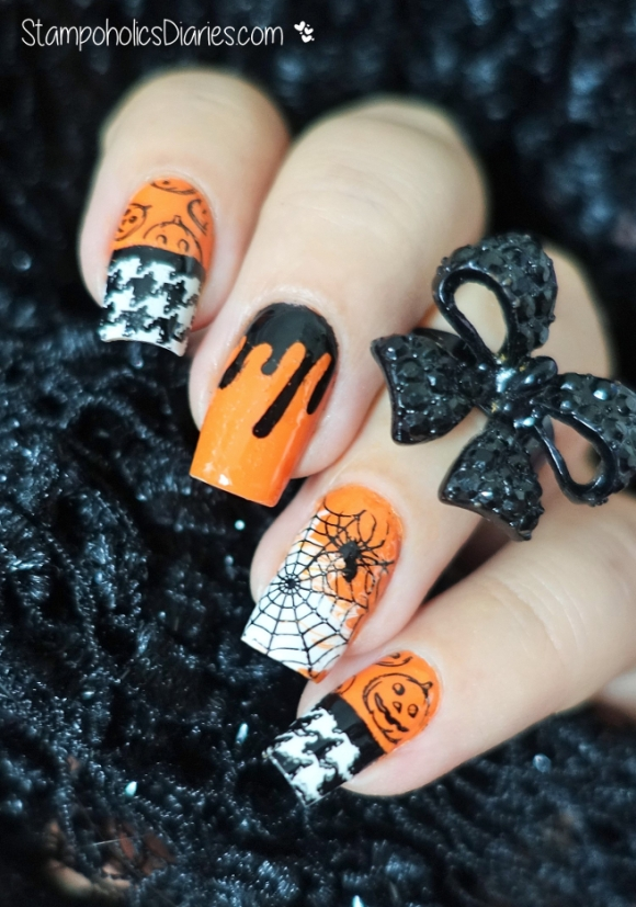 Halloween Nails China Glaze Stoked to be soakes, MoYou Festive Collection 16, Pro Collection 04