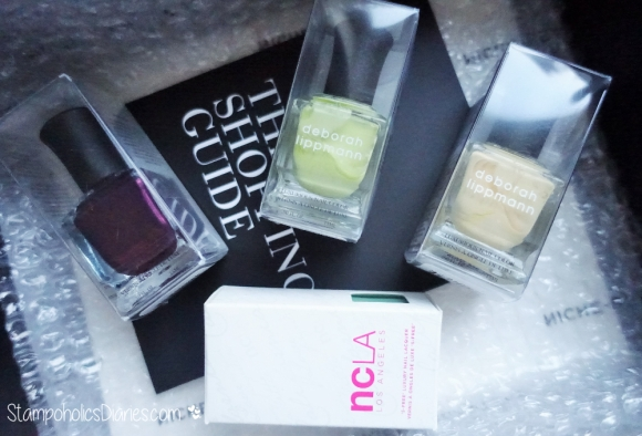 Deborah Lippmann Harem Silk from Bombay, Spring Buds, Build me Up Buttercup, NCLA Santa Monica Shore Thing