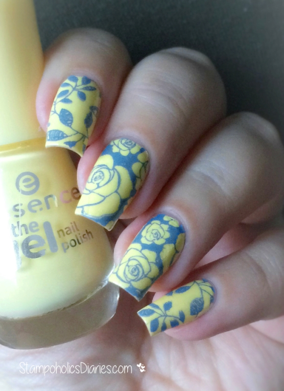 Essence  Love is in the air, Munde de Unas Blue Gray, Uberchic Beauty stamping plate 1-02