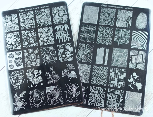 Moyra stamping plates Florality 2 and Labyrinth